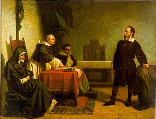 This 1857 painting by Cristiano Benti depicts  Galileo's appearance before the Inquisition