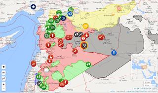 Peta Perang Syria Kawasan DIkuasai Mujahidin