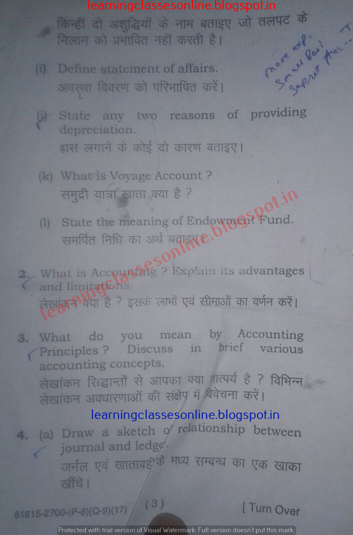 Question Paper of Financial Accounting 2017 - MDU Rohtak Question Papers