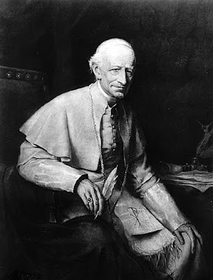A black and white photo of Pope Leo XIII