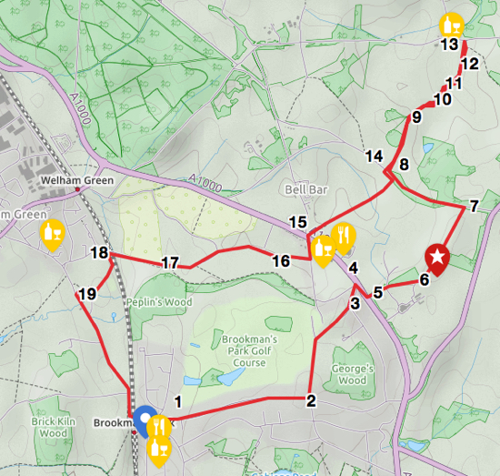 Scan of map for Walk 24: Brookmans Park - Wildhill