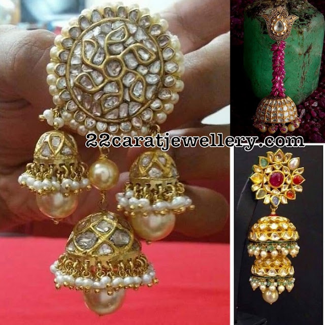 Trendy Two Step Polki Jhumkas