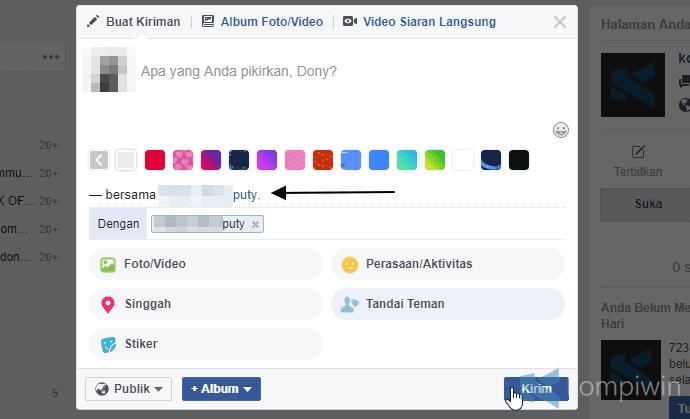 update status dengan teman facebook