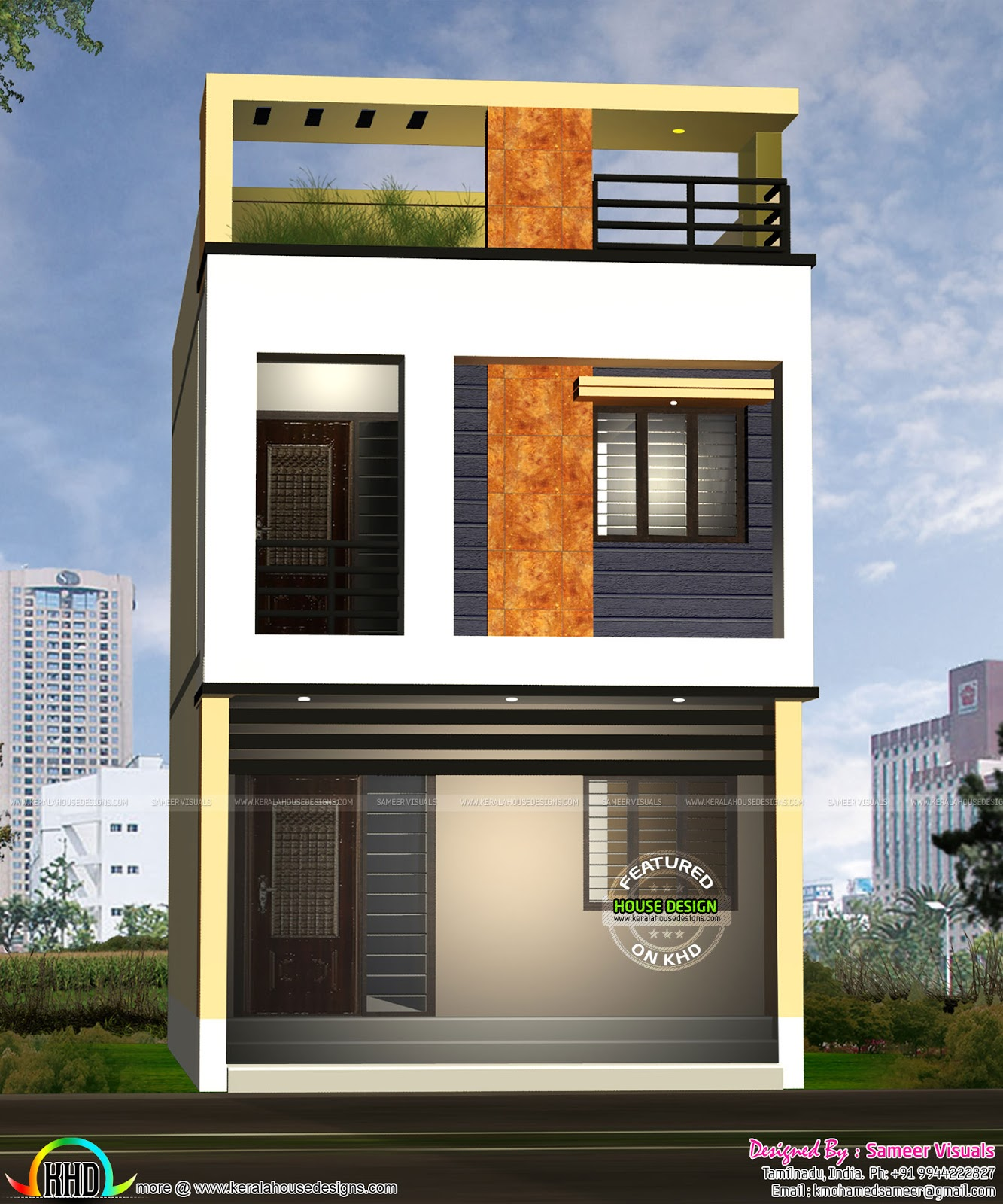 Feet Front Home Elevation : Feet width house design kerala home and floor