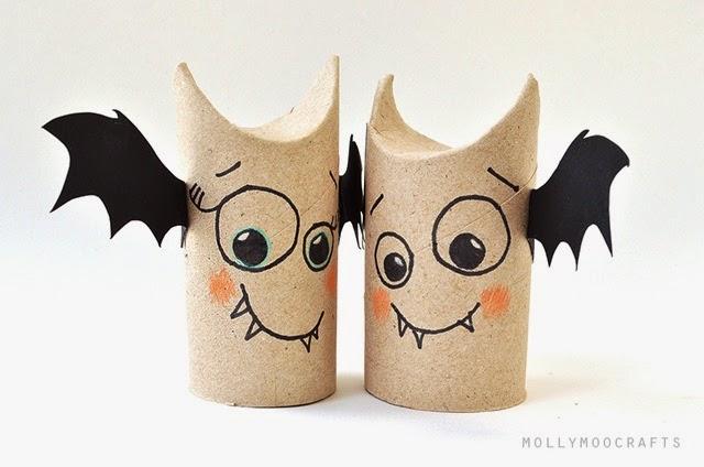 pipistrelli per una festa di Halloween creativa con rotoli di carta igienica