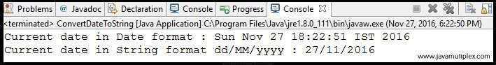 Output of Java program how to convert Date to String?