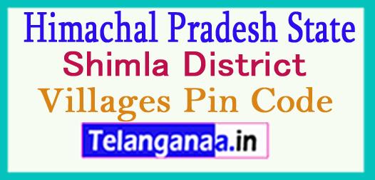Shimla District Pin Codes in Himachal Pradesh State