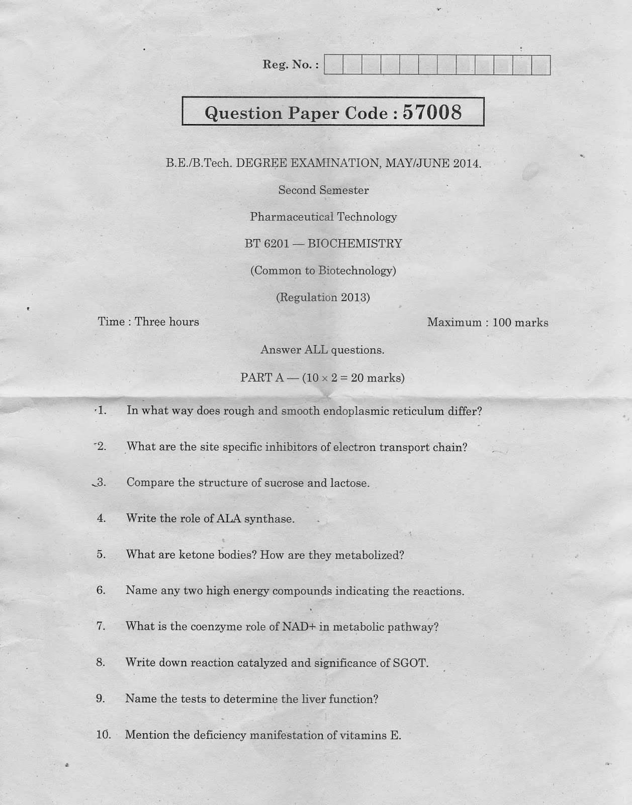 BT6201 Biochemistry May June 2014 Question Paper B.Tech