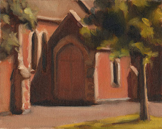 Oil painting of the doorway to a Victorian-era brick ecclesiastical building.