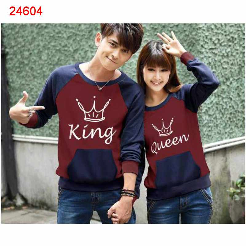 Jual Sweater Couple Sweater King Pocket Maroon Navy - 24604