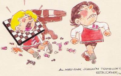 Zipi y Zape jugando ajedrez, dibujo de Josep Escobar