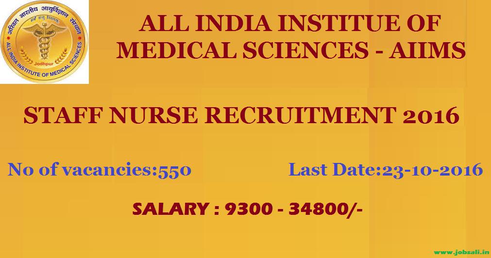 AIIMS Jodhpur Staff nurse vacancy, AIIMS Jodhpur Recruitment
