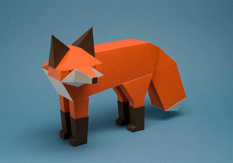 Nuevos gatos de papel geométricos y otras criaturas por Estudio Guardabosques