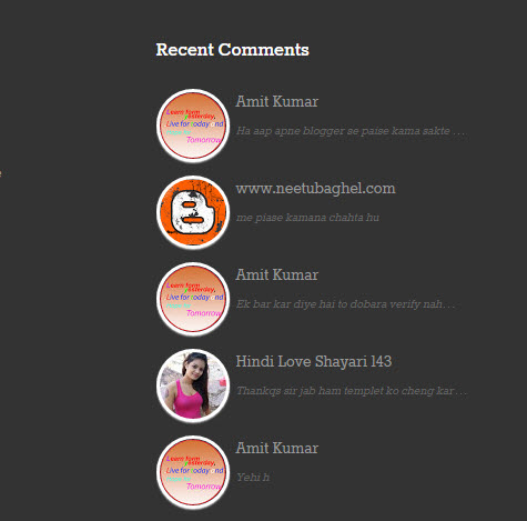 Add Recent Comment Widget For Blogger