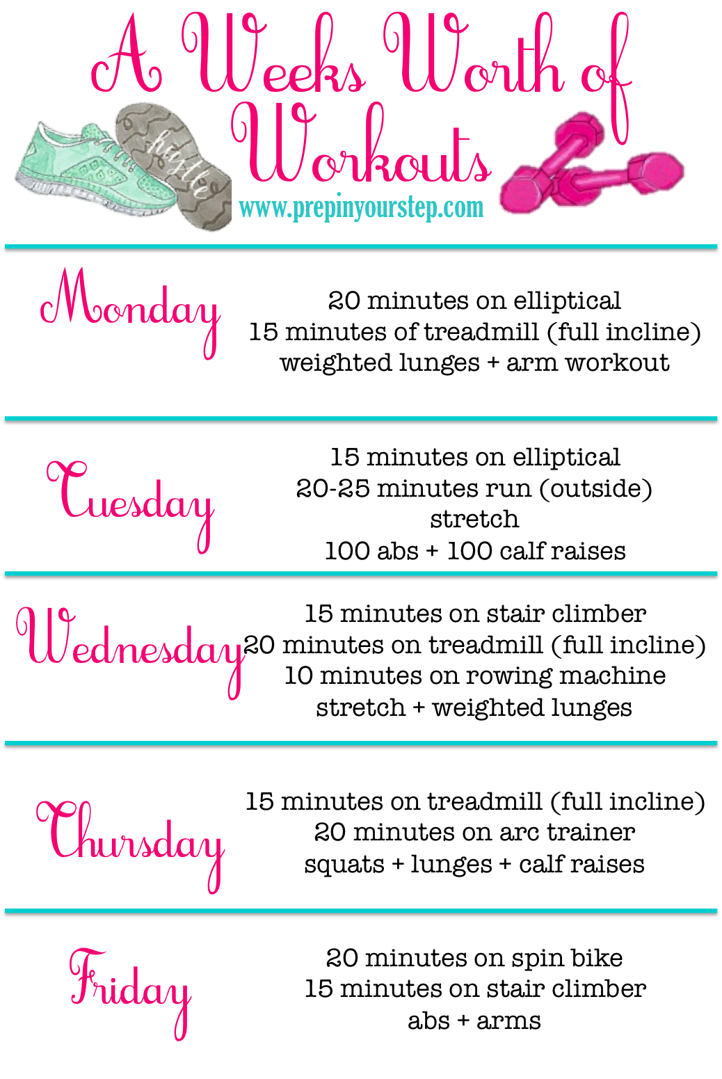 weekly pregnancy photo ideas - Prep In Your Step Updated Weekly Workout Routine
