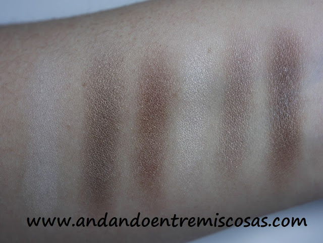 Paleta de sombras All about chocolates de Essence, swatches