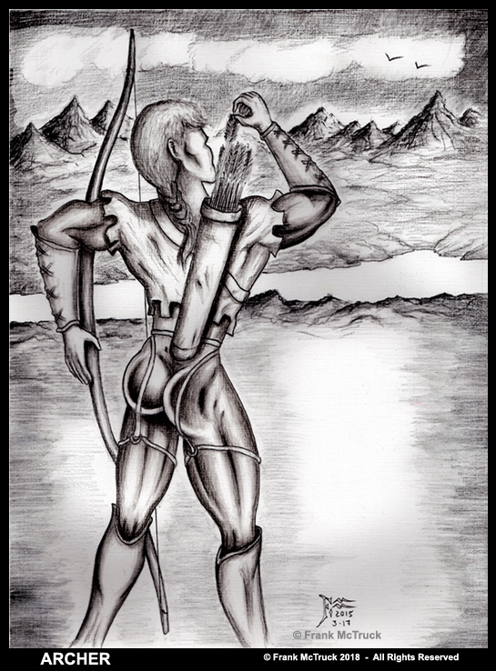 Frank McTruck 'Archer Warrior' pencil and ink wash drawing