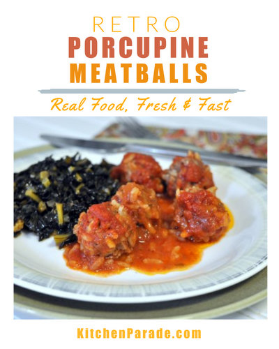 Mini Porcupine Meatballs, another Quick Supper ♥ KitchenParade.com, a retro recipe updated for contemporary tastes. Low Carb. High Protein. Cheap Eats.