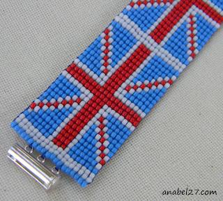 купить стильный браслет из бисера на лето британский флаг узор