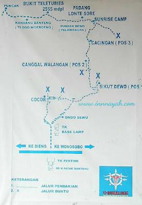 Jalur pendakian prau via patak banteng, peta jalur pendakian prau, pos patak banteng