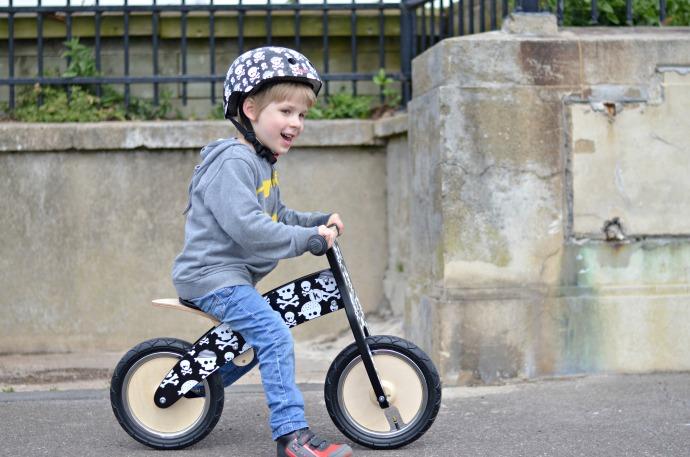 kiddimoto wooden balance bike, skulls balance bike