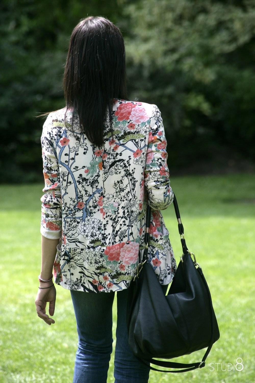 Veste blazer imprime fleuri