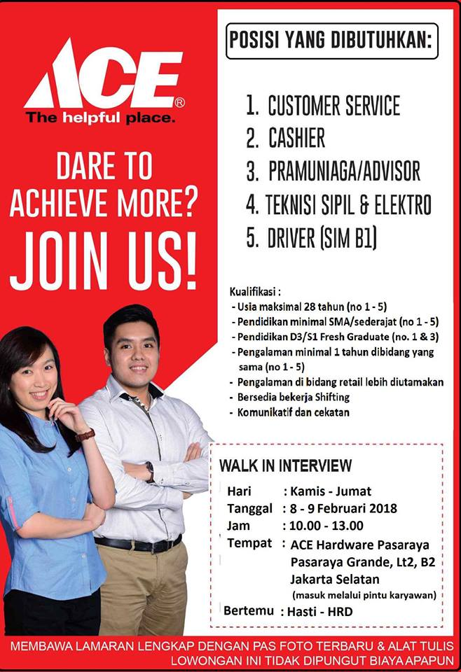 Walk In Interview Di Ace Hardware