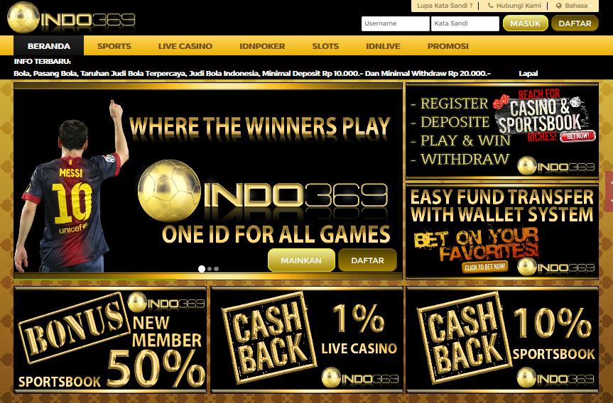 Indo369 Agen Judi Online 1 Akun All Games