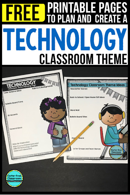 TECHNOLOGY Theme Classroom: If you're an elementary teacher who is thinking about a STEM, STEAM or technology theme then this classroom decor blog post is for you. It'll make decorating for back to school fun and easy. It's full of photos, tips, ideas, and free printables to plan and organize how you will set up your classroom and decorate your bulletin boards for the first day of school and beyond.