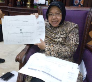 Walikota Surabaya Menunjukan rencana pembangunan Box Culvert