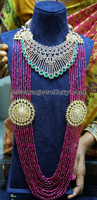 Heavy Diamond Choker Ruby Beads Long Haram
