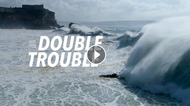 Double Trouble - Big Wave Dramatic Aftermath Sequence Drone - Nazaré Portugal