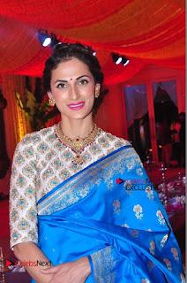Actress Model Shilpa Reddy Exclusive Stills in Blue Saree at Vijay Karan Aashna Wedding  0041.JPG