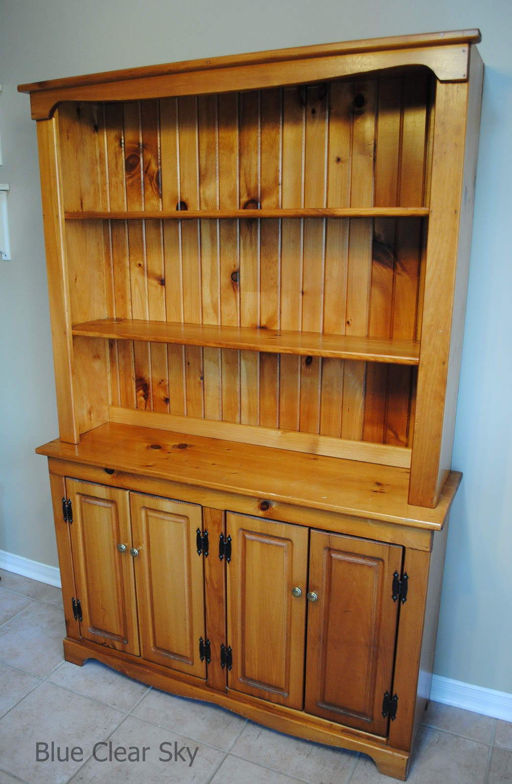 A Pine Buffet And Hutch Vintage Ironstone