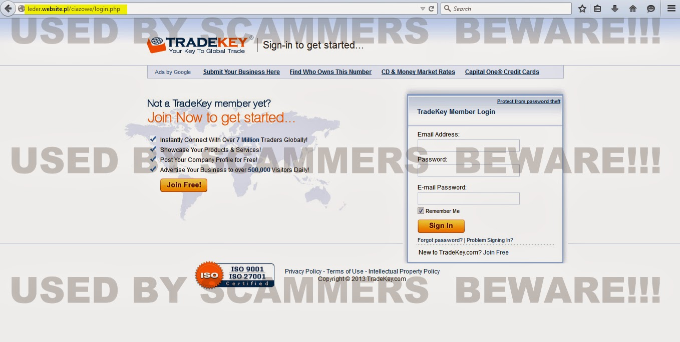 FRAUD FYI: PHISHING ALERT!! Phishing email from Trade Key welcome