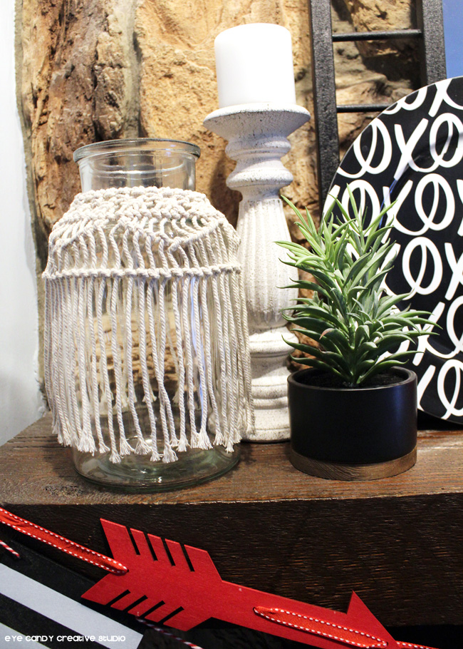 boho vase, kirklands, potted plant, target finds, XO charger, mantel