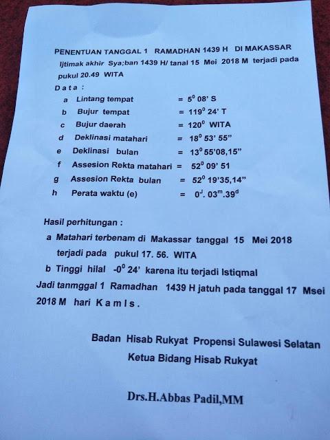 Ini Penetapan 1 Ramadhan yang Dikeluarkan Pemkab Bone Berdasarkan Badan Hisab Rukyat Sulsel