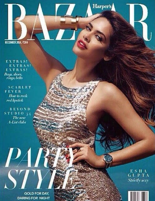Esha Gupta on The Cover Of Harper's Bazaar December 2014 Issue
