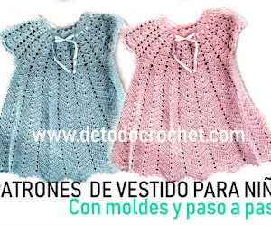 Patrones de vestido para bebés a crochet con moldes y paso a paso