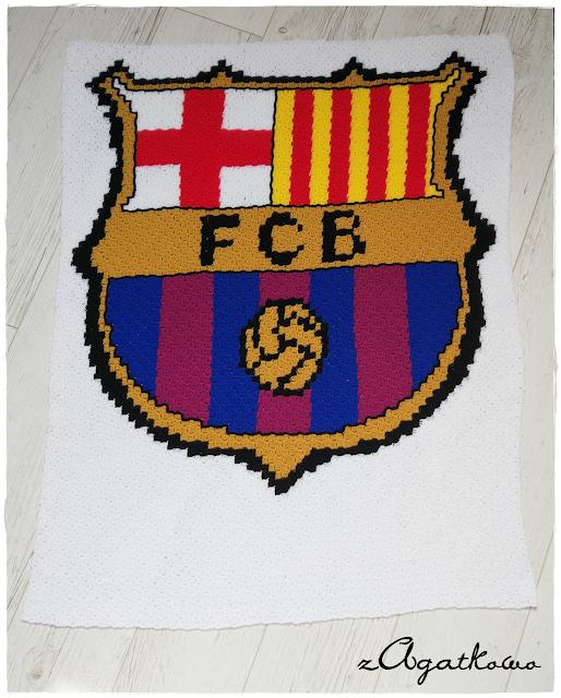 FC Barcelona crochet baby blanket