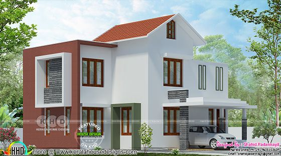 3 bedroom mixed roof 1450 sq-ft Kerala home design