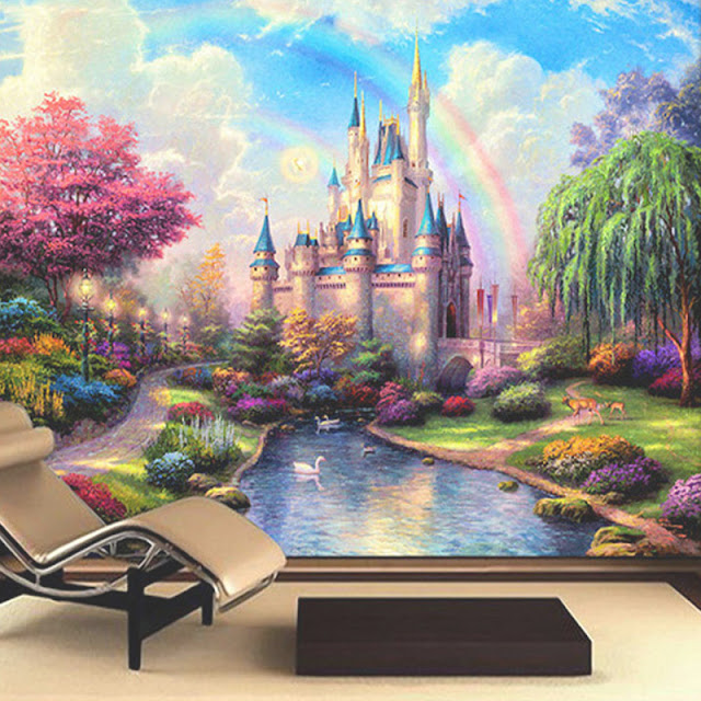 Castle Wall Murals 3D Room Cartoon Castle Tower WallPaper for Kids Children Livingroom Wall Mural Bedroom Rainbow Fantasy Girl Wall Mural