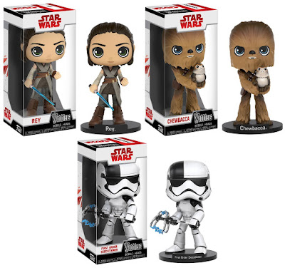 Star Wars The Last Jedi Wobblers Bobble Heads by Funko - Rey, Chewbacca& First Order Executioner Stormtrooper