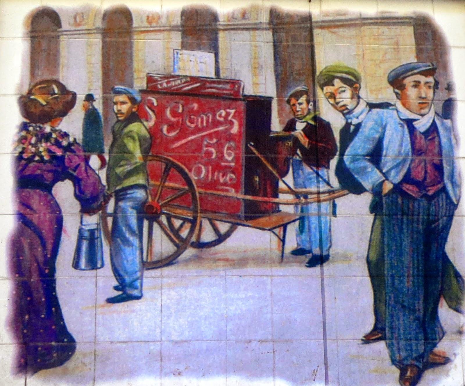 Azulejos de Chulapos. Calle de la Cruz. Madrid
