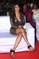 Pooja Hegde looks glamarous in deep neck sleevless short tight golden gown at Duvvada Jagannadham thank you meet function 046.JPG