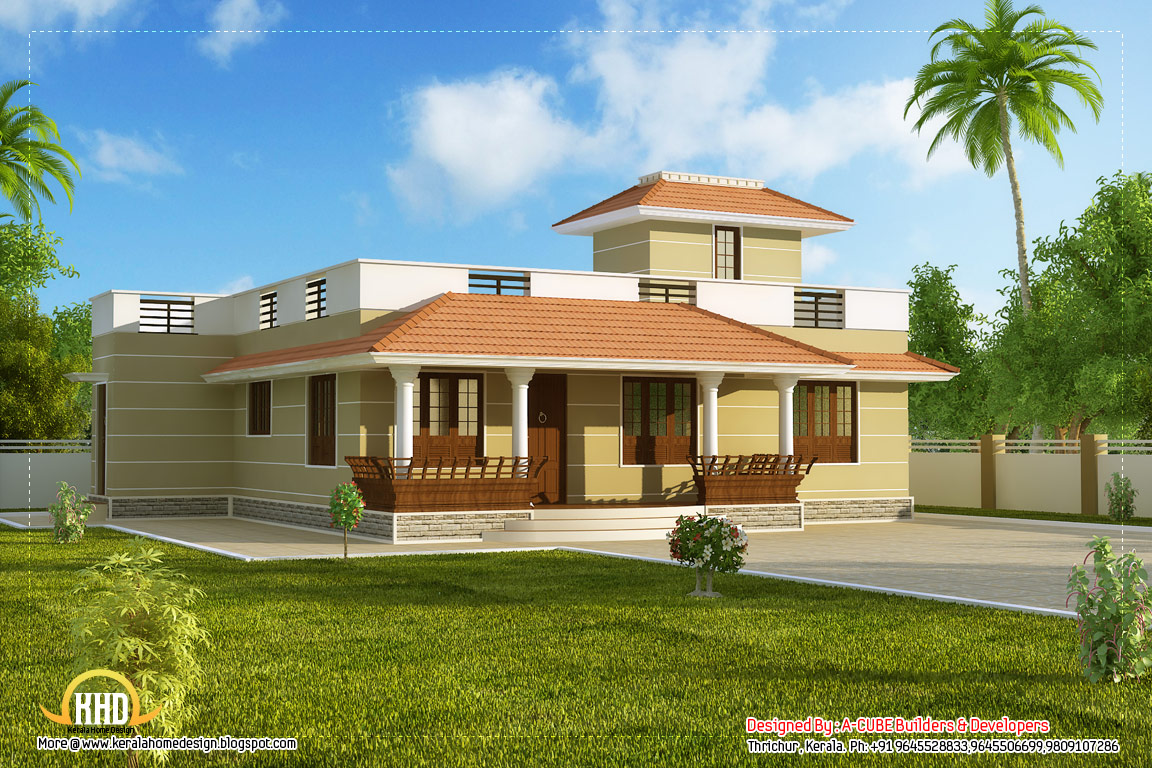 Beautiful single story kerala model house 1395 sq ft for One level home designs