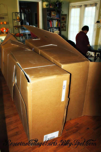 photo Ikea couch in big boxes in a living room | Ikea couch review | rosevinecottagegirls.com