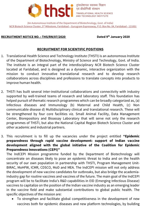 THSTI Scientist Openings 2020 January