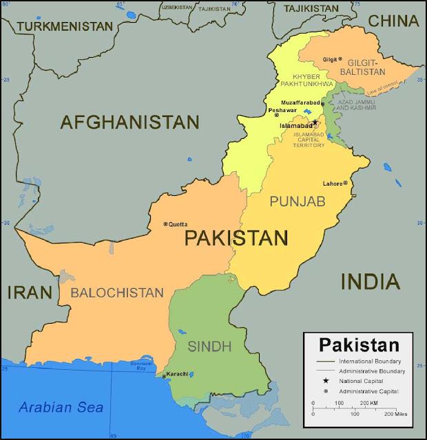 Gambar Peta provinsi Pakistan