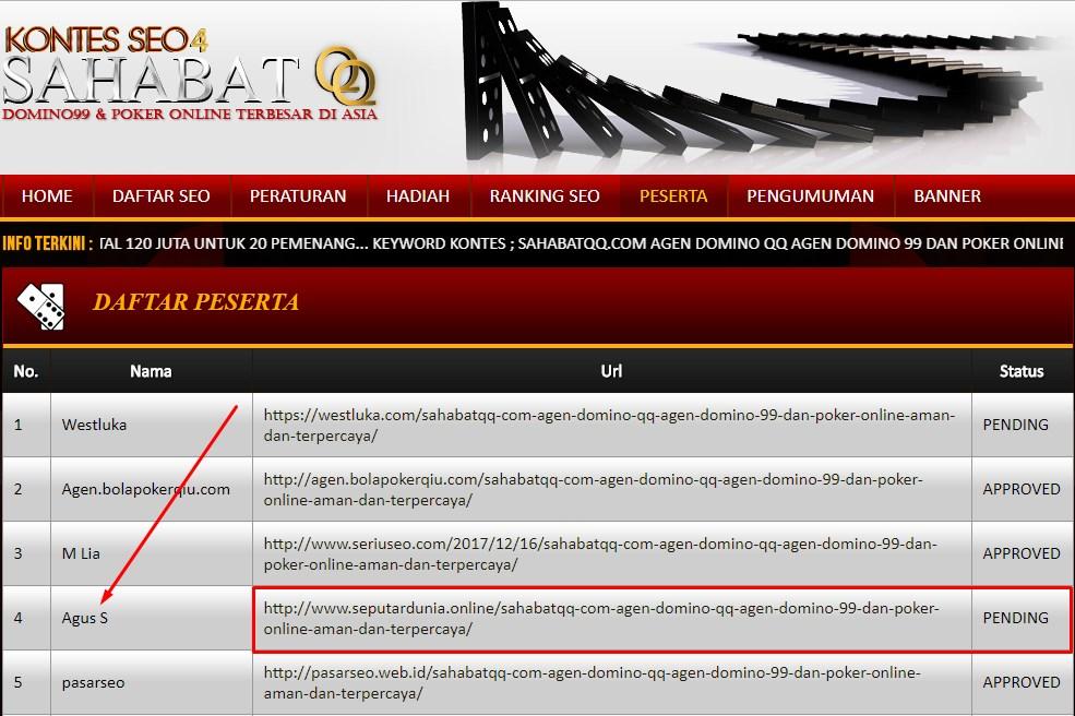 Kecurangan di Kompetisi SEO SahabatQQ.com Sudah mulai Terlihat